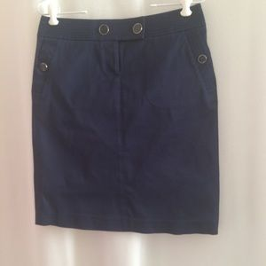J.Crew Pencil Skirt Navy Blue Knee Length Buttons